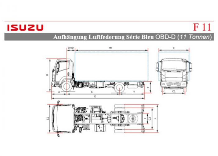 Preisliste und technische Form Isuzu F11 Luftfederung