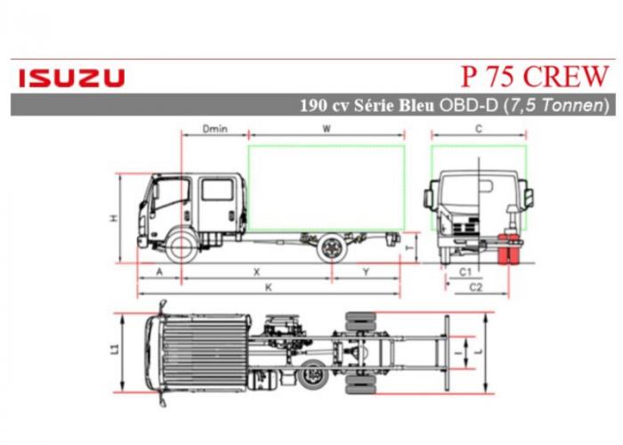 Preisliste und technische Form Isuzu P75 Crew 190