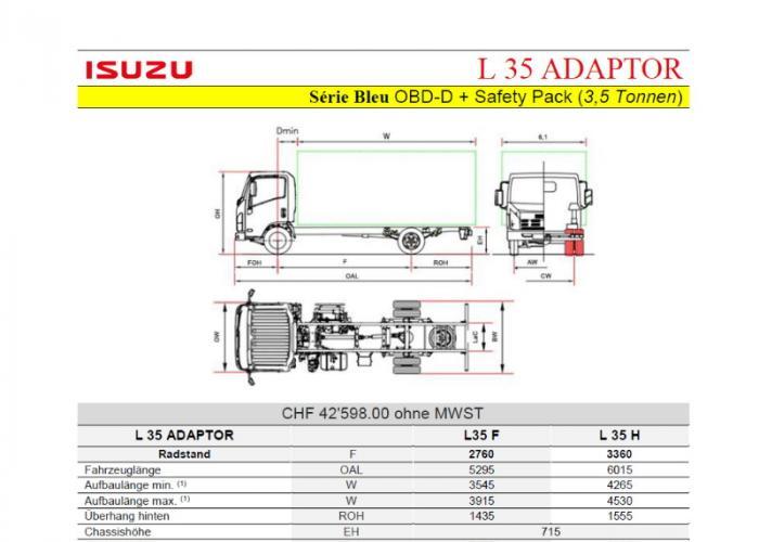 Preisliste und technische Form Isuzu L35 Adaptor S