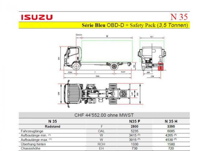 Preisliste und technische Form Isuzu N35