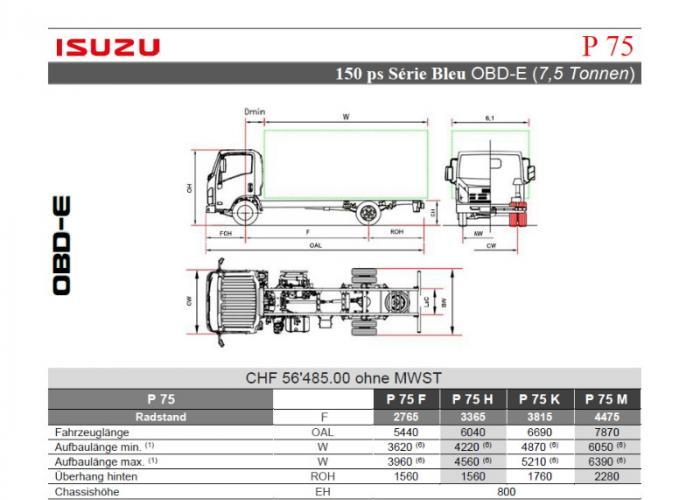 Preisliste und technische Form Isuzu P75 150