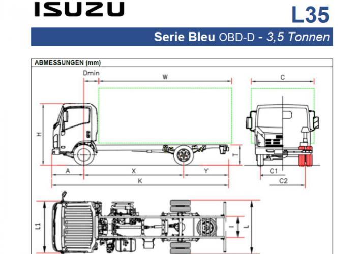 Preisliste und technische Form Isuzu L35
