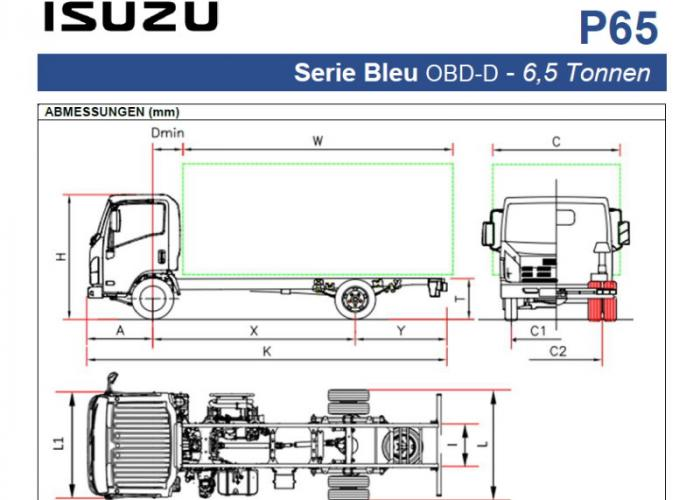 Preisliste und technische Form Isuzu P65